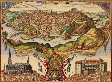 Grabado de 1565: panorámica de Toledo con detalle de la Catedral a la izquierda y del Alcázar a la derecha